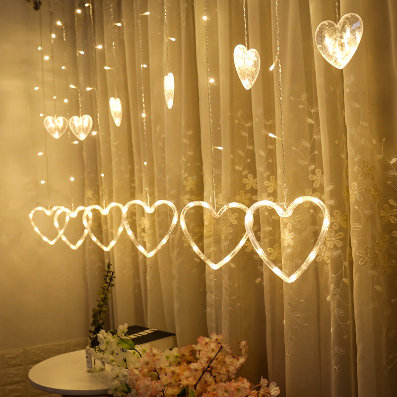 Window Hanging Decorations: LED Heart Shaped Curtain String Light Window Hanging