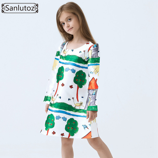 631cc0e87 Girls Dress Winter Kids Clothes Brand Children Dress Cartoon Girls ...