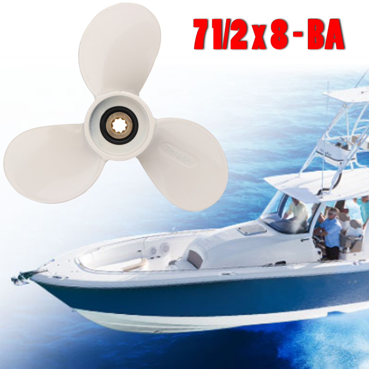 6E0-45941-01-EL 190mm 8-BA In Lega di Alluminio Fuoribordo Elica Per Yamaha Mariner 4-6HP Bianco 3 Lame 9 Spline Dente Pezzi di Barca