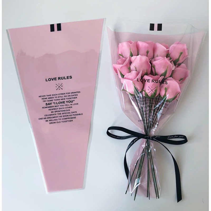 50pcs/lot Transparent Mini Bouquet Bag Single Rose Bag Flower Wrapping Paper Florist Supplies