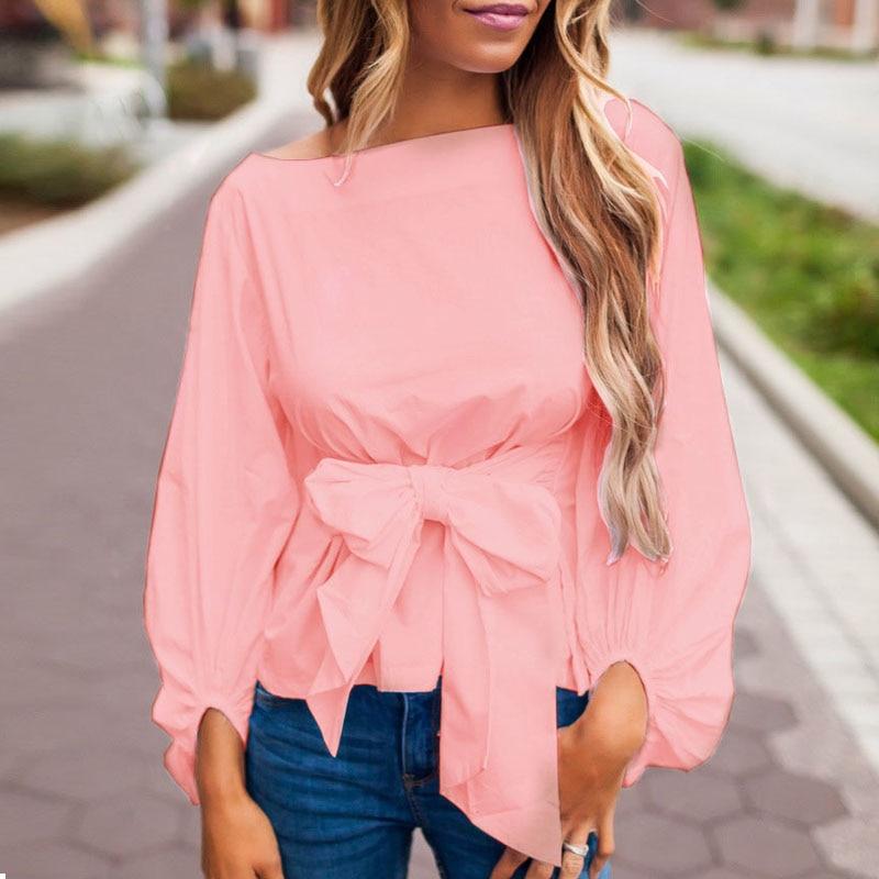ZANZEA Summer Fashion Women Blouse Lantern Long Sleeve Shirt Ladies Bow Belt Blusas Loose Casual Tops Femme Clothes Plus Size