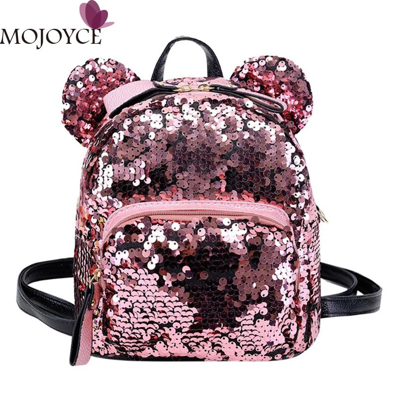 Spring Shining Women Backpacks Teenage Girls Travel Shoulder Bag Mini Cute Bear School Bags High-grade Sequins Backpack New new gravity falls backpack casual backpacks teenagers school bag men women s student school bags travel shoulder bag laptop bags