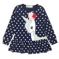 2017 New Spring Casual Baby Girl Dresses Polka Dots Bowknot Dress Long-Sleeves Little Deer Printed Toddler Costume For Teenages