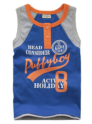 Freeshipping summer  blue white Children Child boy Kids baby sleeveless cute letter pattern cotton shirt T-shirt top PDXZ05P07