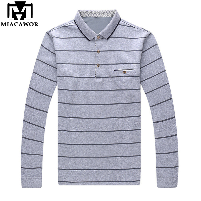 MIACAWOR New Men   Polo   Shirt Striped Casual Camisa   Polo   Masculino Spring Long sleeve Tee Shirts Men Clothing T711