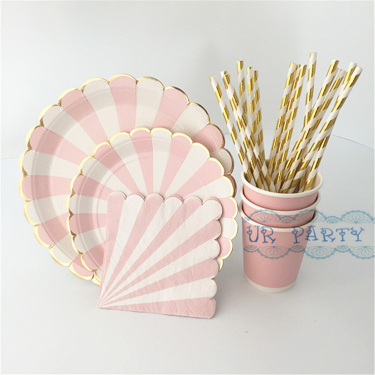 80pcs Pink Stripe Gold Party Tableware Paper Plates Cups Napkins Drinking Straws for Birthday Baby Shower & 80 Sets Eco friendly Wedding Table Setting Pink Foil Gold Scallop ...