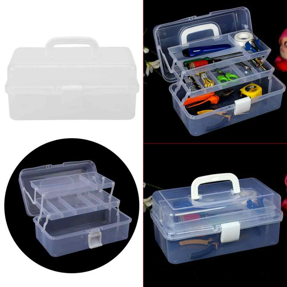 Transparan Dilipat Kotak Alat Bekerja Kotak Lipat Toolbox Lemari Obat Manikur Kit Bekerja Di untuk Penyimpanan