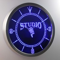 Nc0349 B Studio On The Air Microphone Neon Sign LED Wall Clock