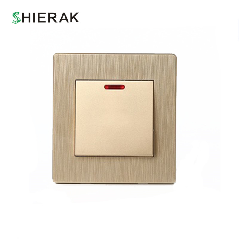 цена на SHIERAK High Power 20A Switch For Water Heater With Indicator Gold Wall Switch