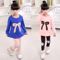 Nuevo patrón niños ropa Otoño Invierno engrosamiento Abrigos de plumas traje coreano chica twinset 2 unidades niños Conjuntos de ropa Trajes
