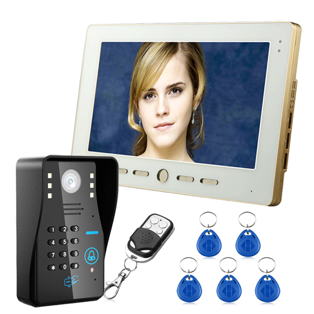 1 Monitor+1 Camera 10 TFT RFID Password Video Door Phone Doorbell Intercom System With IR Camera 1000TVL Remote Access Control 1v4 home security 7inch tft lcd monitor video door phone intercom doorbell night vision with rfid card password unlock camera