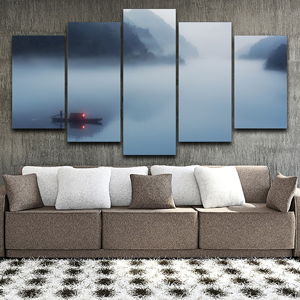 Decoration HD Printed Poster Framework Living Room 5 Panel Fog River Mountain Landscape Modern Wall Art Pictures Home Painting in Painting Calligraphy from Home Garden