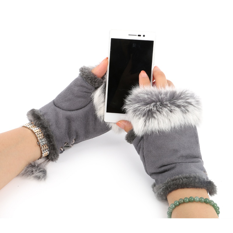 Winter Glove Warmer Fingerless-Gloves Hand-Wrist Faux-Rabbit-Fur title=