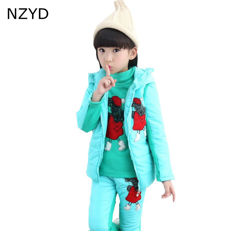 New Fashion Winter Cotton Girl Suits 2017 Children Tops + Hooded Vest + Trousers Casual Warm Kids Clothes 2PSC Set 6-13Y DC666 girl s fashion suits 100