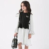 Teen Girls Dress Long Sleeve Stripe Girls Cotton Dresses Teenage Kids Dresses For Girls Vestidos Infantis