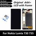 100% probado Woking bien LCD para Nokia Lumia 730 735 LCD + pantalla táctil digitalizador asamblea con marco + herramientas