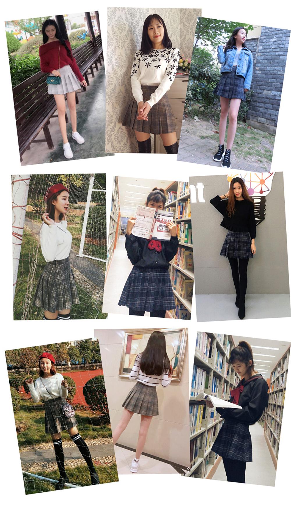 Plus Size Harajuku Short Skirt New Korean Plaid Skirt Women Zipper High Waist School Girl Pleated Plaid Skirt Sexy Mini Skirt 4