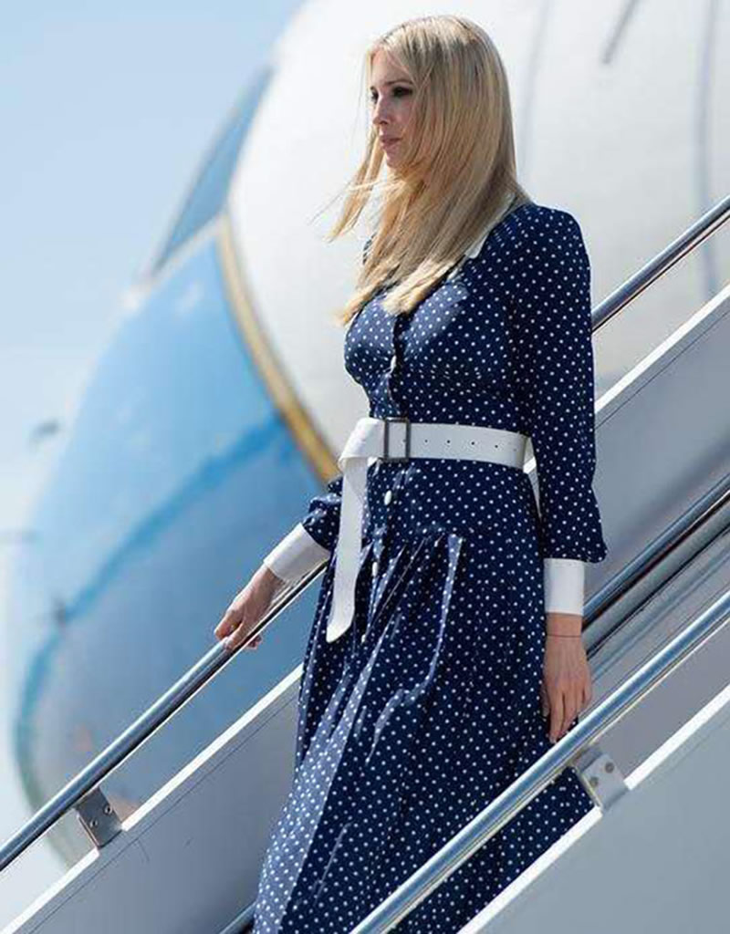 new Ivanka Trump Polka Dot long dress elegant Turn-down Collar long sleeve pleated dresses