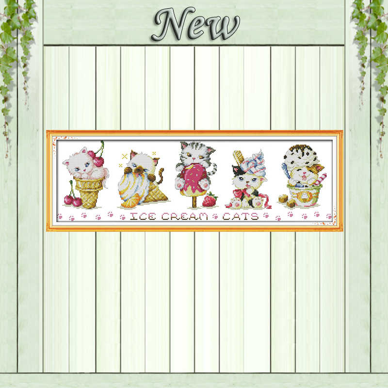 Ice cream cats fairy home decor painting counted print on canvas DMC 14CT 11CT Chinese Cross Stitch Needlework Set Embroider kit