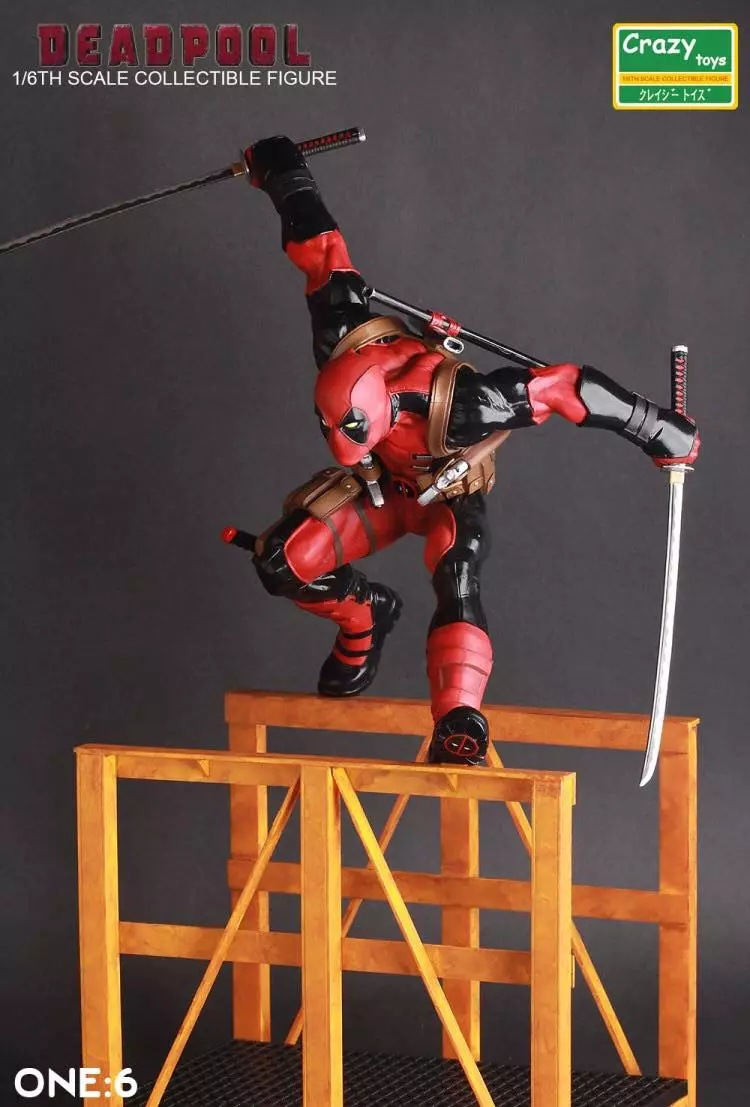 Crazy Toys Marvel Super Hero Deadpool 1/6th Scale Collectible Figure Toy 12 28cm