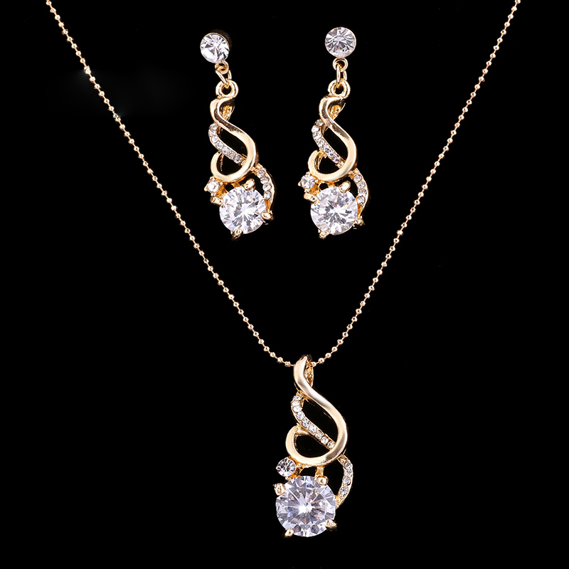 Fashion Wedding CZ Crystal Jewelry Sets for Women valentines day gift Party Necklace Earrings Indian African Beads Jewelry Sets