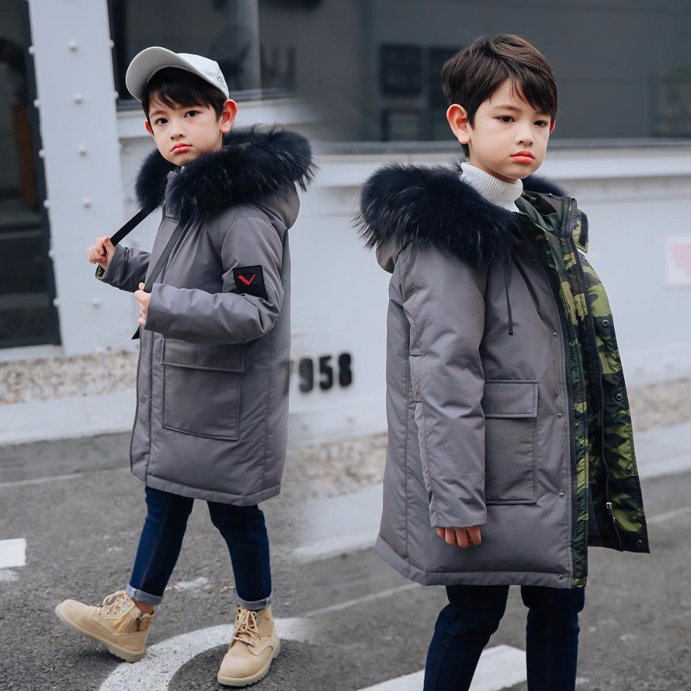 children Down & Parkas 8-12year winter kids outerwear boys casual warm hooded jacket for boys solid boys warm coats -30 degree цена 2017