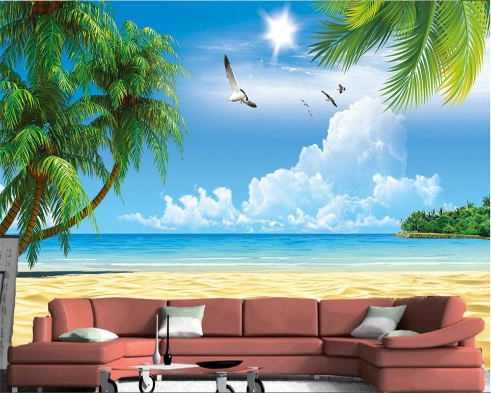 US $8 85 OFF Beibehang Wallpaper Kustom Pantai Kelapa Pemandangan Pohon Lukisan Dinding Wallpaper Dekorasi Rumah Ruang Tamu Kamar Tidur TV Mural