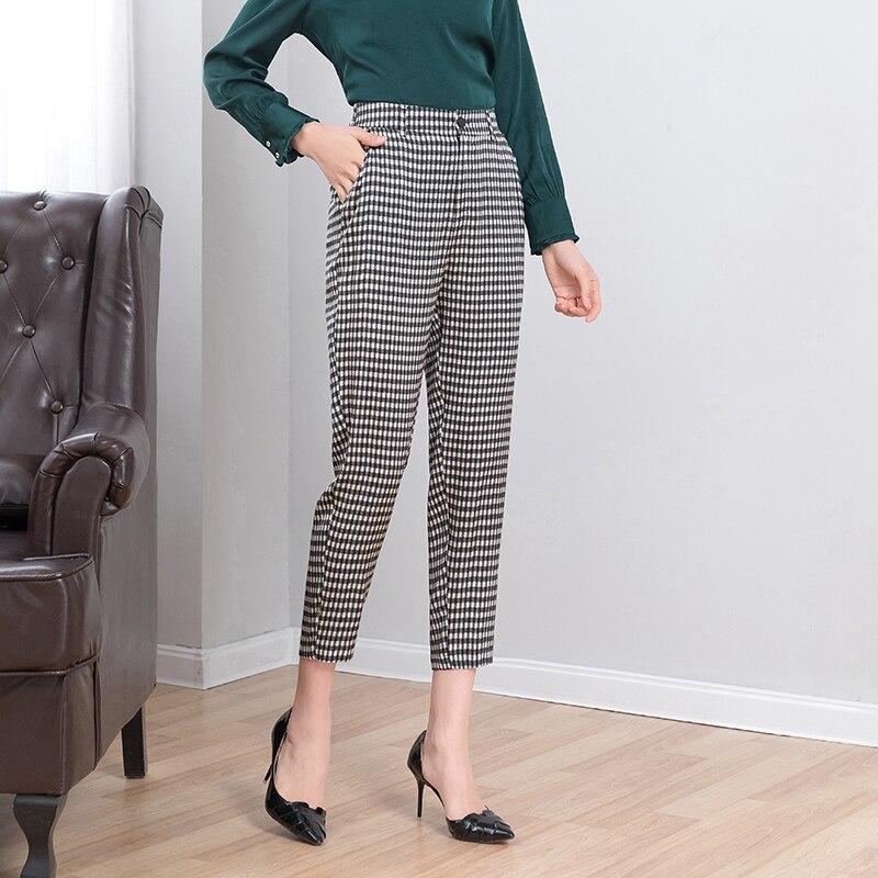 real silk plaid harem pants 2019 new summer women natural silk ankle length korean elegant harajuku