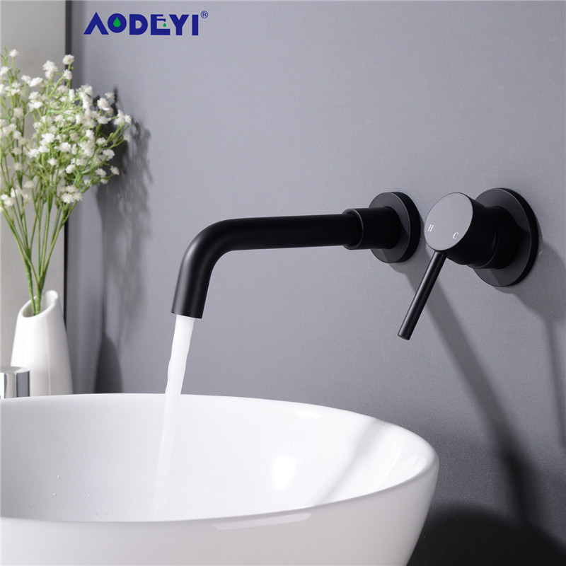 AODEYI Matte Brass Wall Mounted Basin Faucet Single Handle Bathroom Mixer Tap Hot Cold Sink Faucet