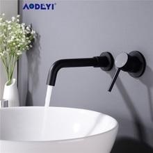 Robinet de lavabo mural, noir mat, robinets de salle de bains à levier unique, robinet deau chaude et froide mélangeur deau chaude et froide, robinet en or brossé