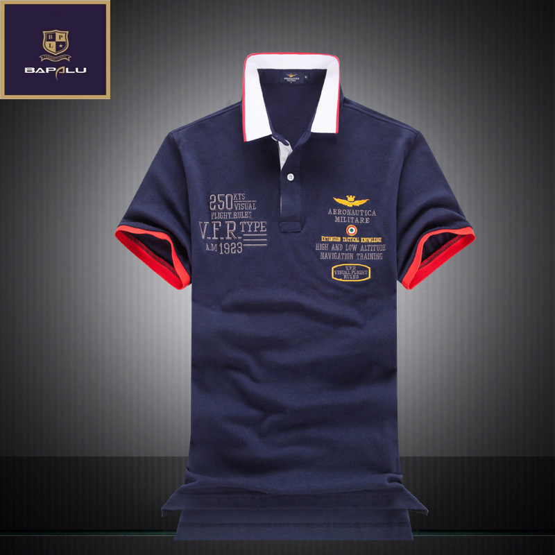 summer new   polo   shirt men's boutique embroidery breathable 100% cotton   polo   shirt lapel Men's Air Force One Leisure   polo   shirt