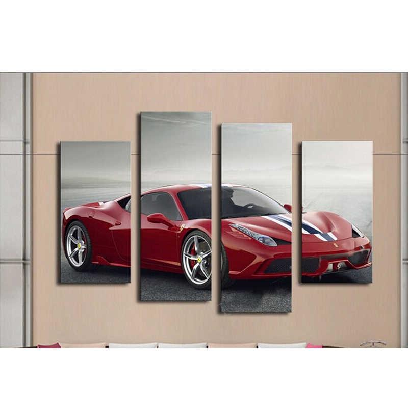 4 панели Холст Живопись красный автомобиль в процессе настенная живопись картина