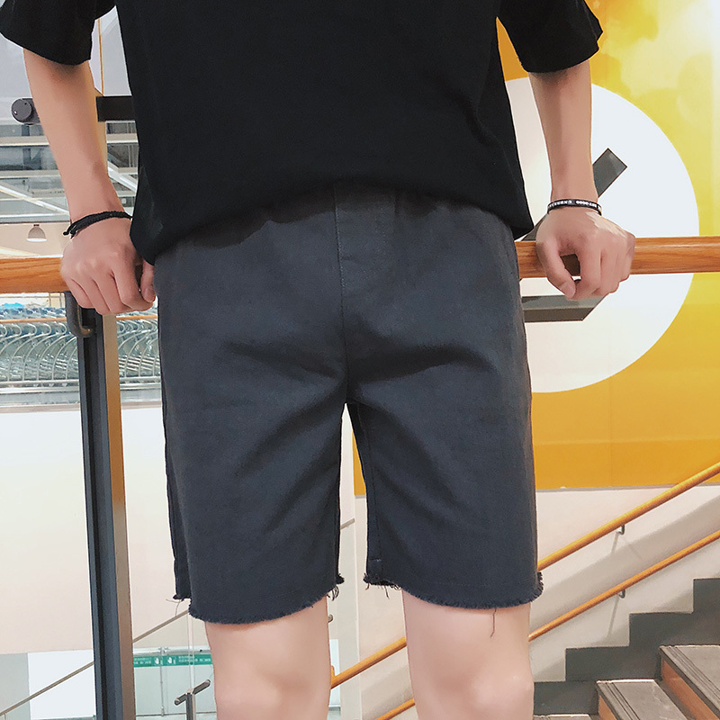 2018 Summer Newest Mens Fashion Concise Korean Style Elastic Waist Cotton And Linen Loose Casual Black/Gray/khaki Shorts M-2XL