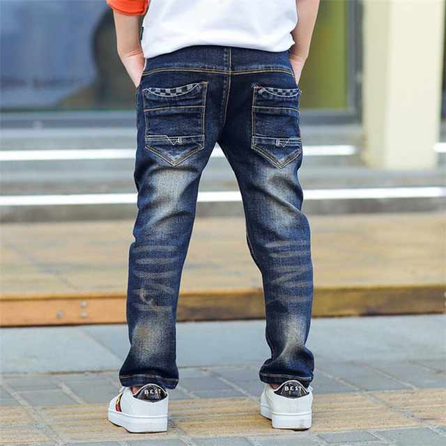 Classic spring autumn children's infant soft denim boy OR girl jeans casual trousers,Boy patch jeans. 3 5 7 8 10 12 14 years old