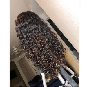 Image 2 - Brown Honey Blonde Ombre Human Hair Wigs 180 Density Highlight Water Wave 360 Lace Frontal Remy Wigs For Black Women Pre Plucked