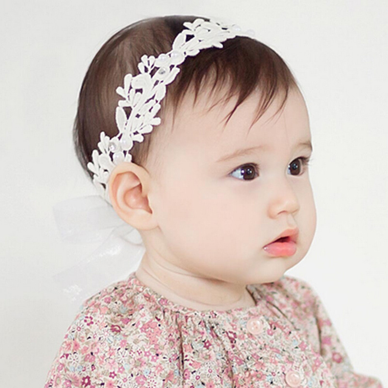 2018 Baby Flower Headband Girl Children Infant Baby White Floral Hair band Accessories Adjustable Headband For Baby Girls newborn photography props child headband baby hair accessory baby hair accessory female child hair bands infant accessories