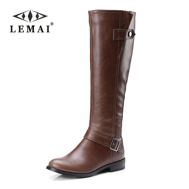 4b0827f79e042 2017 moda invierno cálido piel mujeres rodilla botas altas negro suave cuero  moda nueva mujer grueso