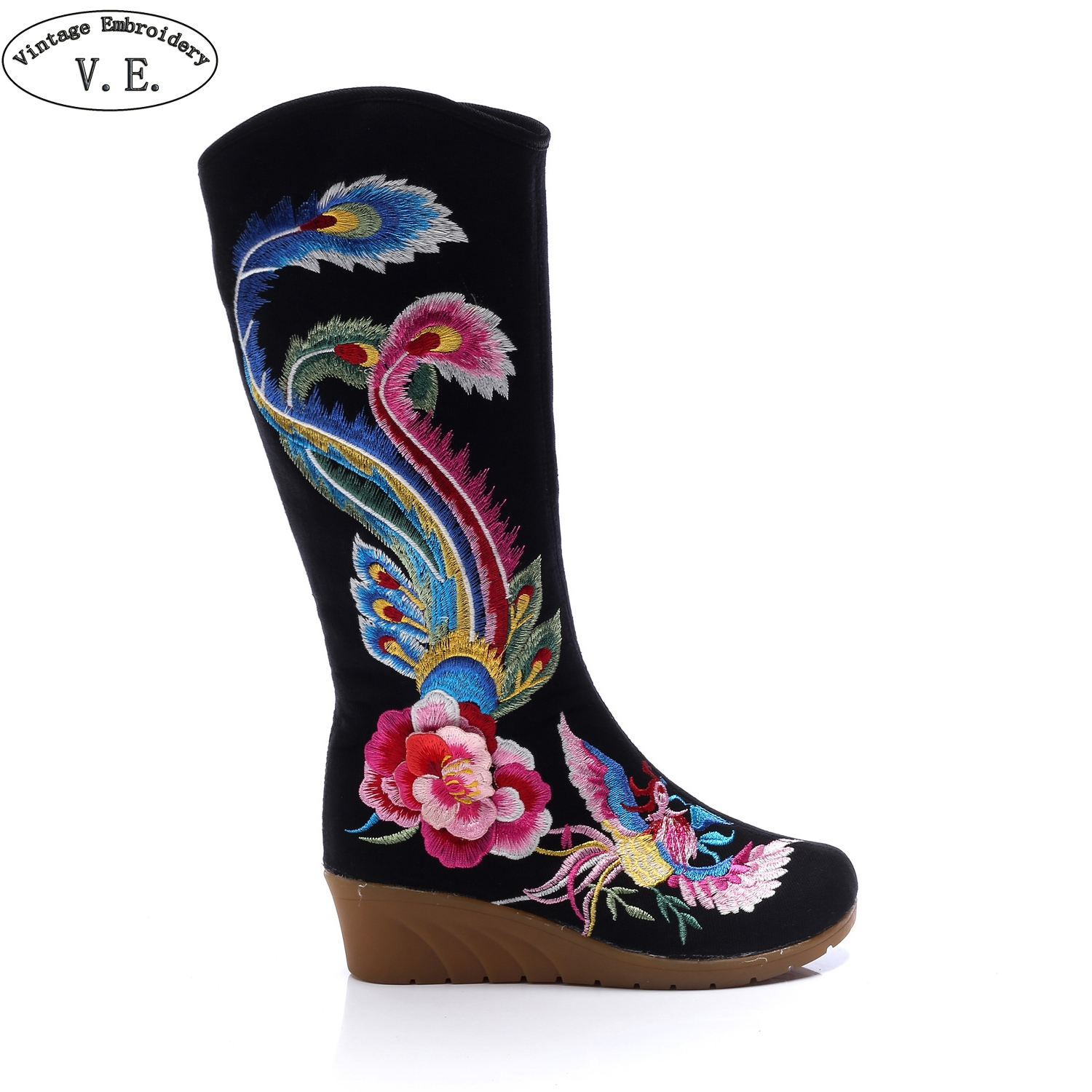 Mixed Style Women Winter Boots Phoenix Embroidered Canvas Mid Boots Wedges High Heels Ladies Tall Black Booties Botas MujerMixed Style Women Winter Boots Phoenix Embroidered Canvas Mid Boots Wedges High Heels Ladies Tall Black Booties Botas Mujer
