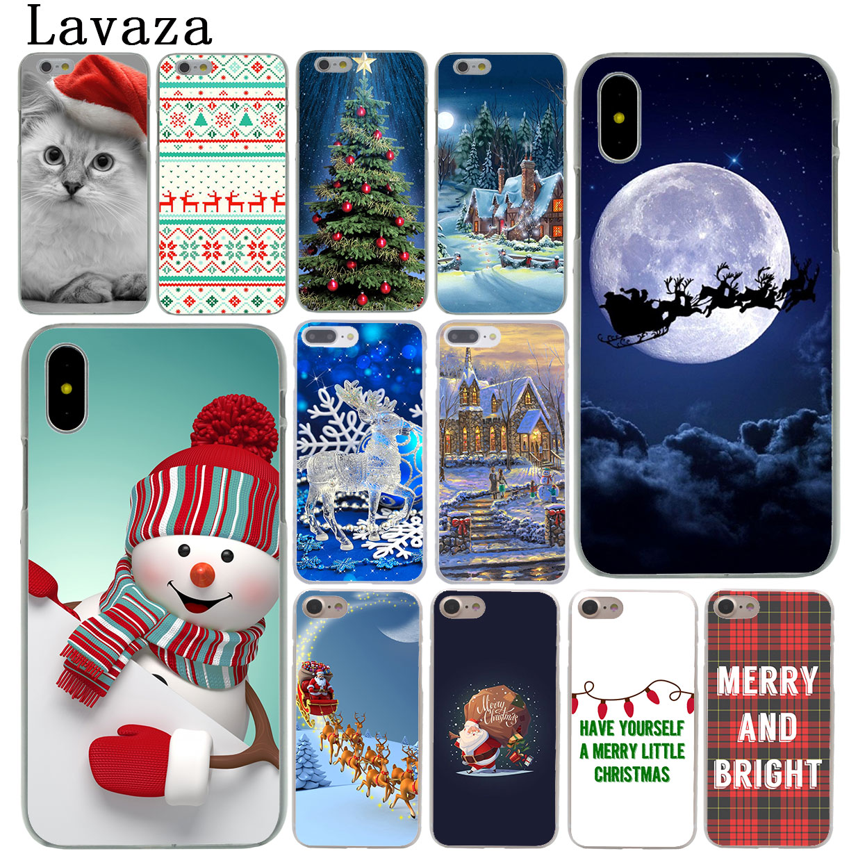 3248e64e2db8fc Lavaza Merry Christmas happy New Year Cat Phone Case for Apple iPhone XR XS  Max X 8 7 6 6S Plus 5 5S SE 5C 4S 10 Cover Cases