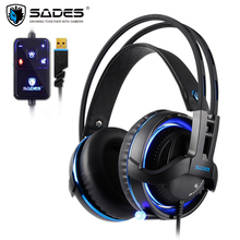 SADES Diablo Realtek Gaming Headset Headphones Surround Sound USB Volume RGB Light