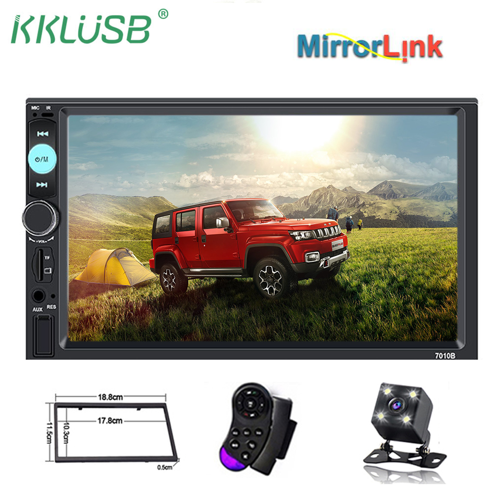 "7/"" Double DIN Car Stereo MP5 Player Bluetooth Radio Mirror Link For GPS Camera"