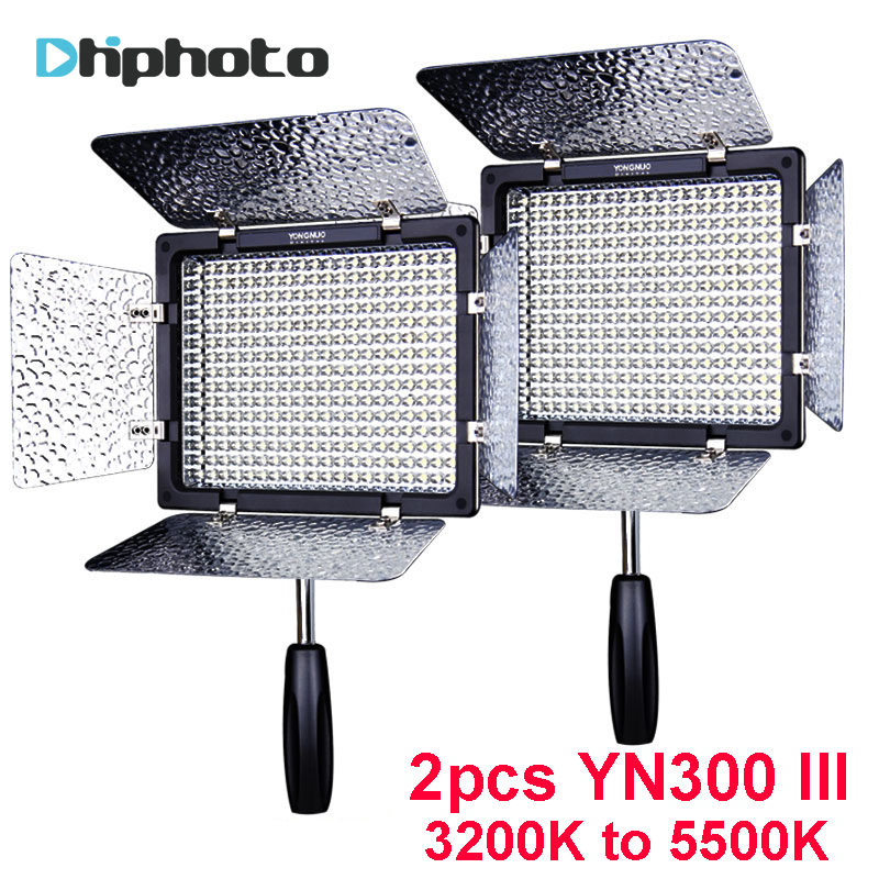 2PCS YONGNUO YN300 III YN300III YN-300 III CRI95 3200K-5500K LED Video Light with Barndoor photographic led panel lamp for DSLR yongnuo yn300 air 3200k 5500k yn 300 air pro led camera video light with np f550 battery and charger for canon nikon