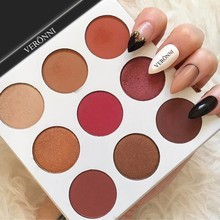 9 Colors Pressed Powder Eye Shadow Palette Matte Glitter Makeup Eyeshadow Palette цена