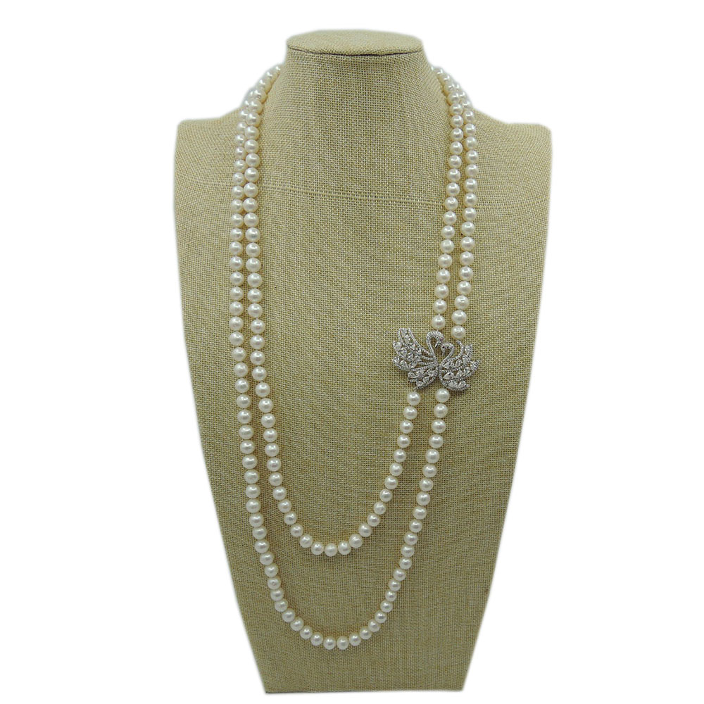 100% NATURE FRESHWATER ROUND PEARL LONG   NECKLACE-high quality-swan decorated 100% NATURE FRESHWATER ROUND PEARL LONG   NECKLACE-high quality-swan decorated