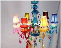 Colorful Modern Decora 6L D60cm Tiffany Crystal Chandelier Light Bedroom Pendant Chandelier Colorful Crystal Chandelier Lighting