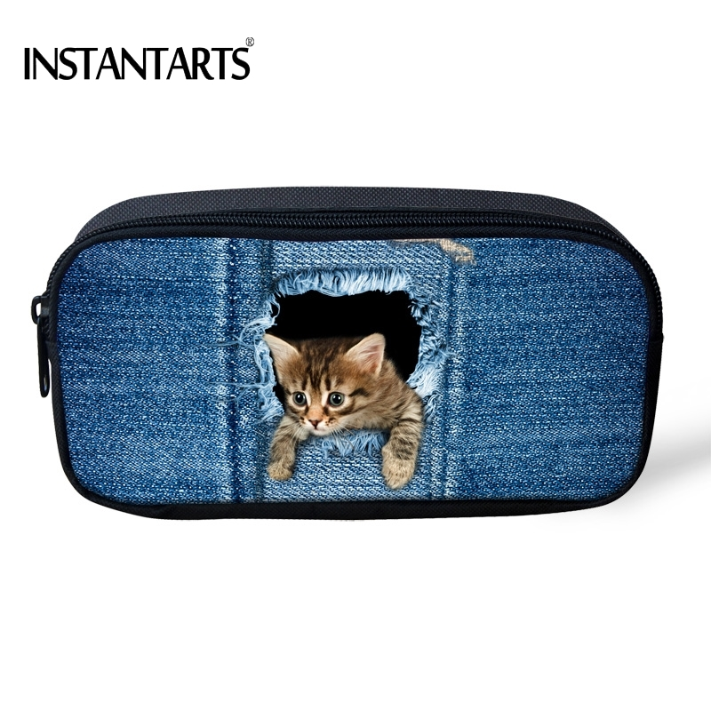 INSTANTARTS Kawaii 3D Fake Denim Pocket Cat/Kitten Print Kids Pencil Cases Big Students Pencil Pouch/Bags Travel Cosmetic Cases