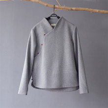SCUWLINEN зимнее женское пальто в винтажном китайском стиле со стоячим воротником с длинным рукавом с нефритовой пряжкой, толстые теплые шерстяные топы, куртка Zen S677