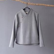 SCUWLINEN 2020 Winter Coat Vintage Chinese Style Stand Collar Long sleeve Jade Buckle Thick Warm Wool Tops Zen Jacket Women S677