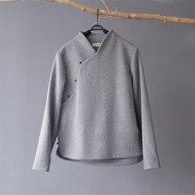 SCUWLINEN 2020 Winter Mantel Vintage Chinesischen Stil Stehkragen Lange sleeve Jade Schnalle Dicke Warme Wolle Tops Zen Jacke frauen S677