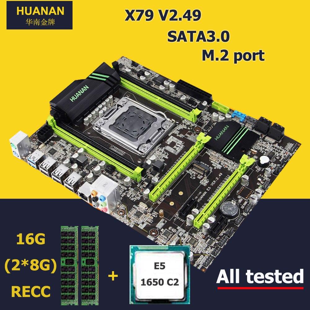 Marque HUANAN ZHI de bureau carte mère avec NVMe SSD M.2 slot X79 LGA2011 CPU Intel Xeon E5 1650 C2 3.2 GHz RAM 16G (2*8G) 1600 RECC
